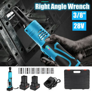 28V-3-8-039-039-60Nm-Cordless-Right-Ratchet-Angle-Wrench-W-2-Li-ion-Battery-Charger