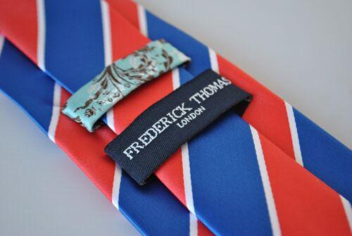 Frederick Thomas Bleu Blanc Et Rouge Barber à Rayures Homme Cravate RRP £ 19.99 FT2063
