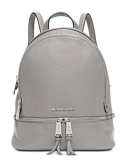 0044e782b47fd Michael Kors Small Rhea Zip Leather Backpack Pearl Grey Gray for ...