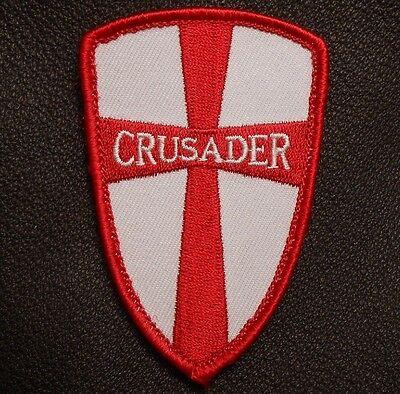 CRUSADER CROSS SHIELD NAVY SEAL DEVGRU USA RED VELCRO® BRAND FASTENER PATCH