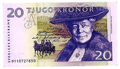 SWEDEN  20  KRONOR  2008  P 63a  Circulated  = XF+