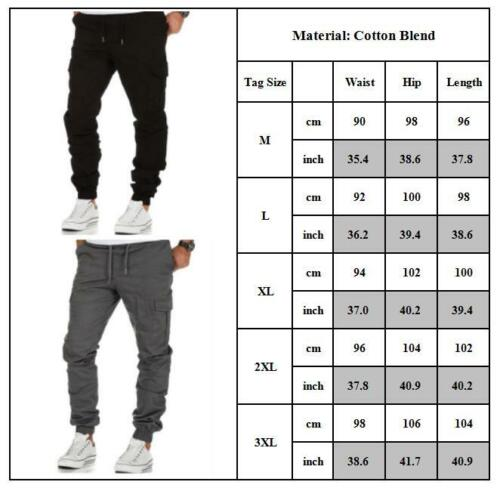 Mens Cargo Combat Military Work Trousers Gym Sports Elastic Joggers Pocket Pants