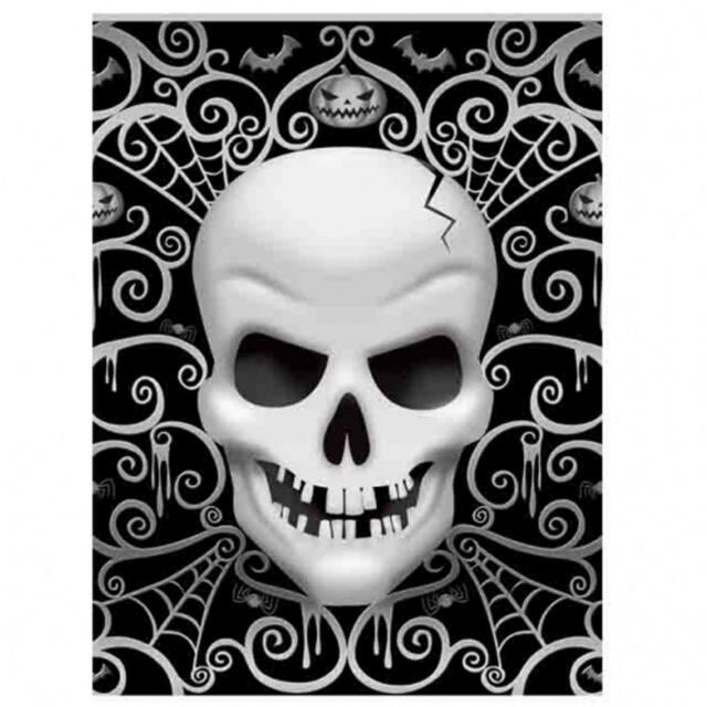 Halloween Party Tableware Fright Night Skeleton Plates Cups Napkins Tablecover