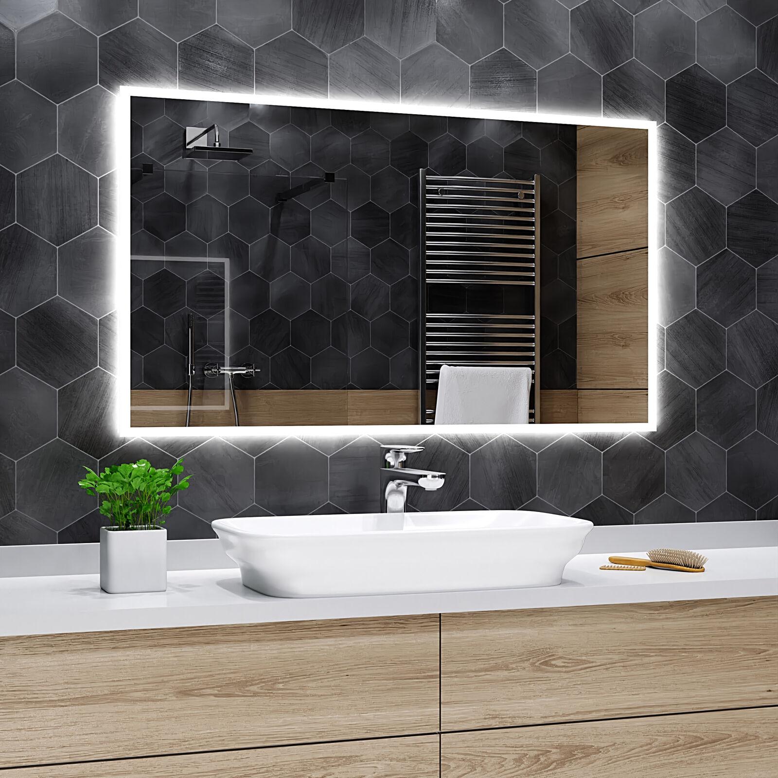 Badspiegel mit LED Beleuchtung Wandspiegel Badezimmerspiegel -  Boston K01