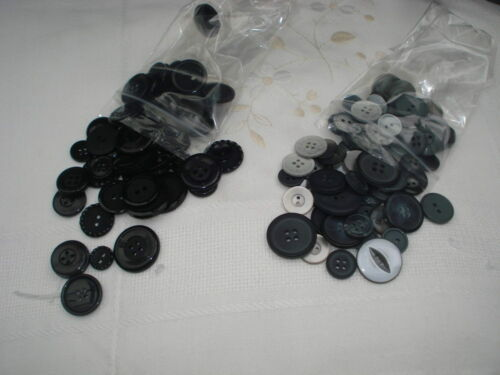 assorted sets Buttons 50 grams black//greys