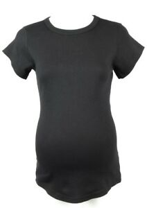 Michael-Stars-Maternity-black-OSFA-cap-sleeve-band-crew-neck-t-shirt-top-NEW-44