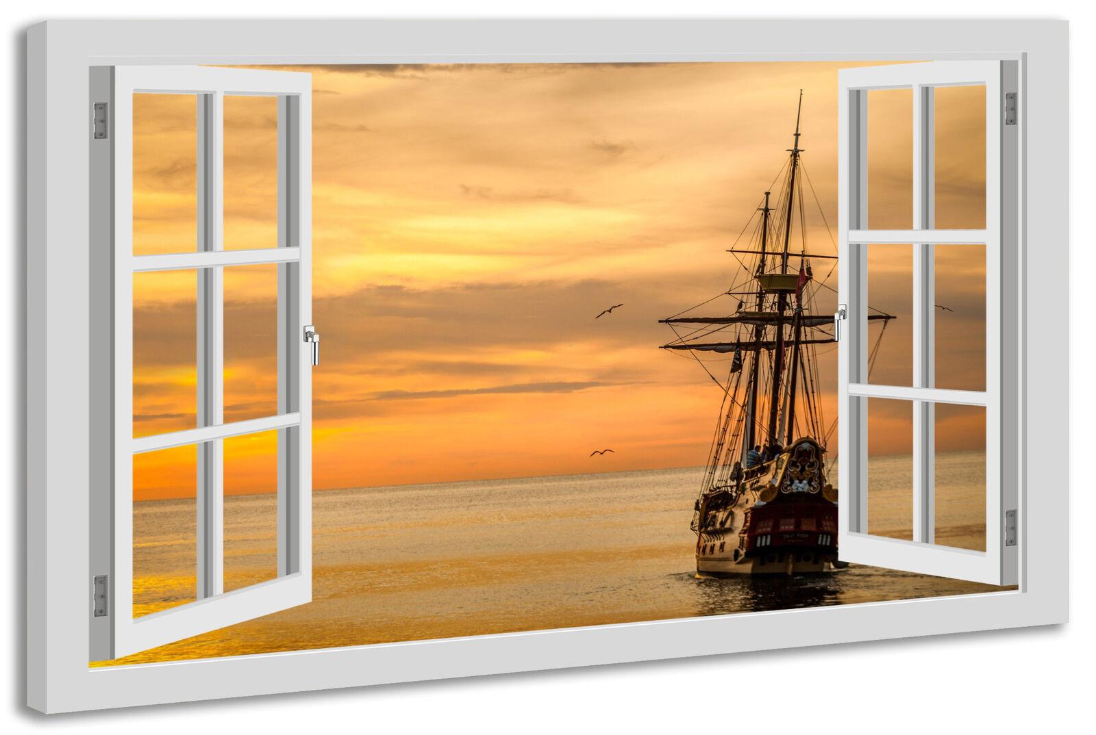 Toile fenêtre la fresque fenêtre Toile vue bateau mer navire coucher de soleil f02f55
