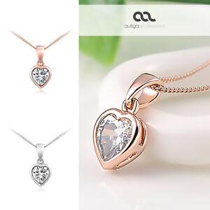 Damen-Halskette-Herz-Kette-Heart-Anhaenger-vergoldet-Zirkonia-Kristall-Geschenk