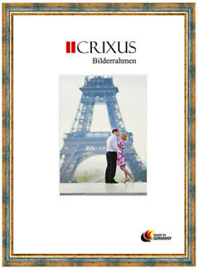 CRIXUS40-Real-Wood-Picture-Frame-Antique-Blue-Gold-Baroque-Photo-Frame-B-48-453