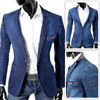 Denim Blazer Jacket | Blue Jeans Ribbed Shoulders Slim | UK Seller FREE POSTAGE
