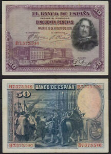 SPAIN 50 Pesetas, 1928, P-75, Diego Velazquez, VF-XF World Currency
