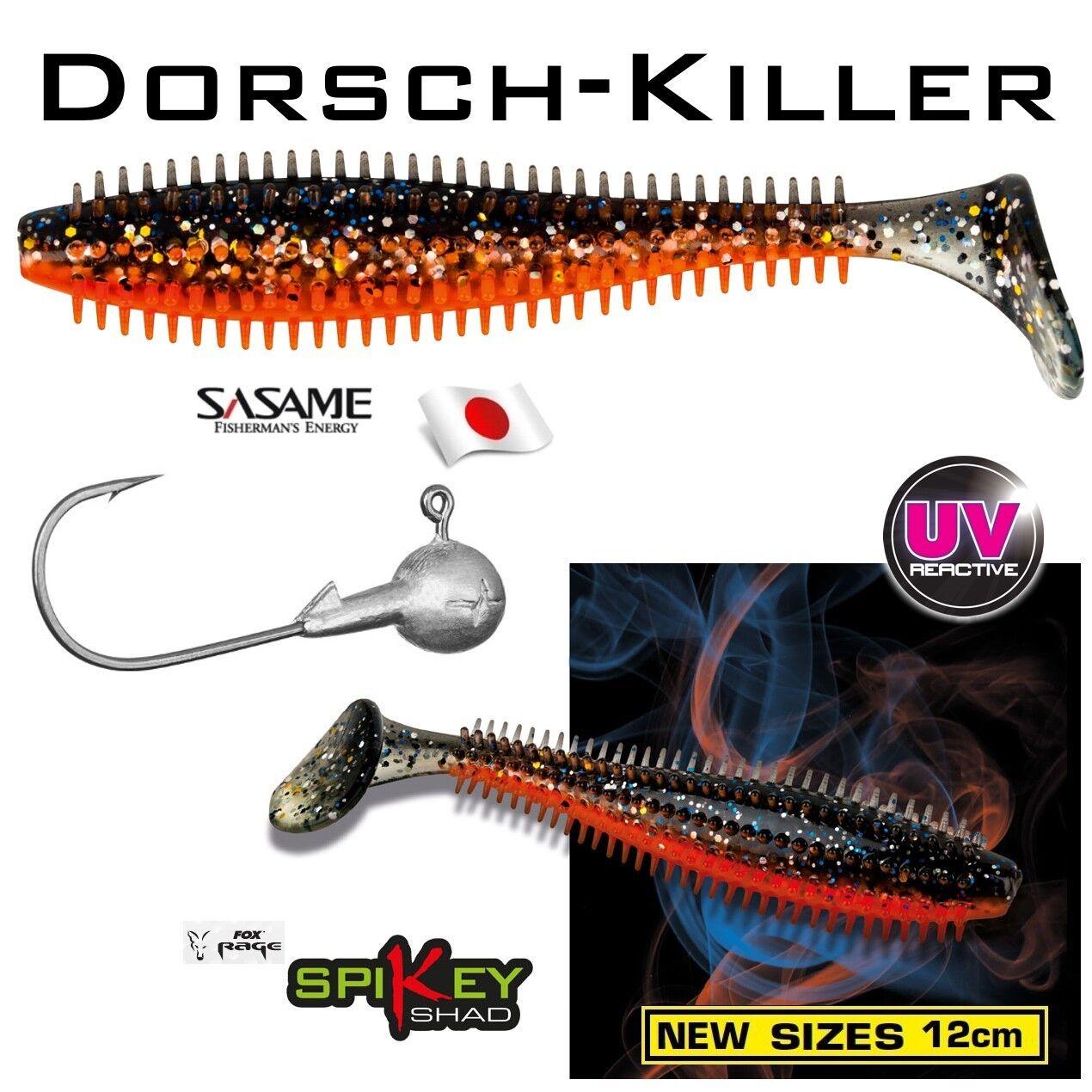 Nouveau 12 cm morue tueur +++ de Fox Rage +++ tueur Spikey avec SASAME gigue Crochet 35 g 512919
