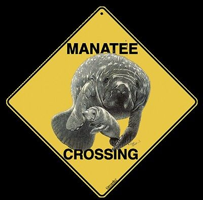 "12/"" on sides Indoor//Ourdoor MANATEE Crossing Sign 16/"" on Diagonal Aluminum"