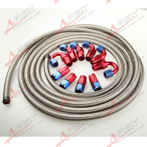 Fitting Hose End Adaptor Kit AN16-16AN Stainless Steel Braided Oil//Fuel Hose
