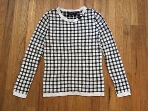Jones-New-York-Signature-Black-amp-White-Checked-Sweater-Women-039-s-XS