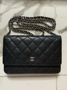 CHANEL BLACK CAVIAR WALLET ON CHAIN SILVER HARDWARE **GREAT**