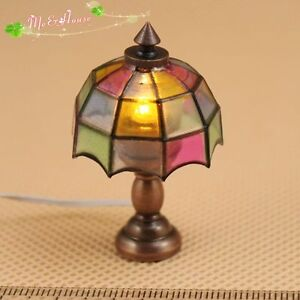 1 12 dollhouse tiffany table lamp 12 volt working light for 12v table lamp