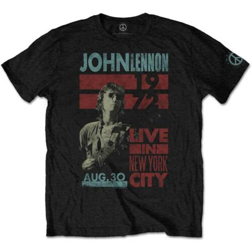John Lennon Live in NYC 1972 The Beatles Official Tee T-Shirt Mens