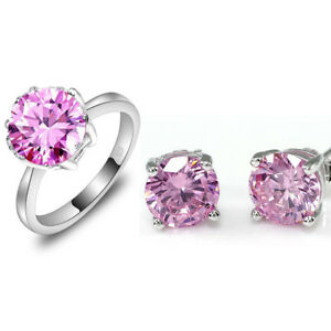 Fabulous-Charismatic-Jewelry-Pink-Topaz-Zircon-Silver-Earrings-and-Ring-Set