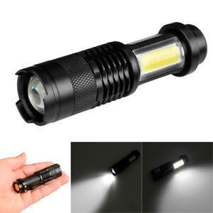 Mini Flashlight XPE Q5+COB LED Torch Lamp Penlight AA//14500 6 Modes Bright Lamp