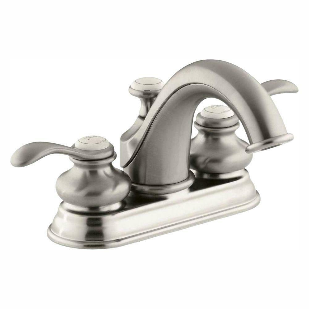 Kohler Fairfax 4 In Centerset 2 Handle Bath Faucet In Vibrant Brushed Nickel For Sale Online