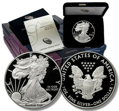 1986 - Present 1 oz .999 Proof Silver American Eagle Box /& COA Random Year