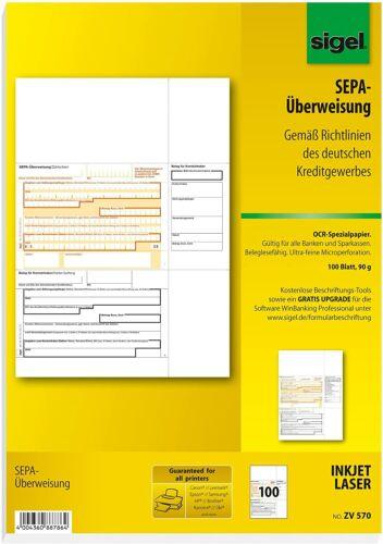 100 Blatt SIGEL ZV570 SEPA-Überweisungen 90g//m² A4 Druck Vorlage Zahlschein