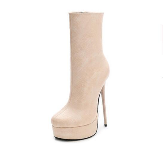 Womens 15cm High Heels Platform Ankle Boots Side Side Side Zipper Oversize Stilettos new e9d022