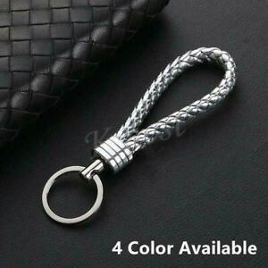 Men-Woman-Silver-Black-Leather-Fashion-Key-Chain-Ring-Car-Keyring-Keychain-Gift