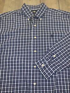 Polo-Ralph-Lauren-Button-Down-Blake-Shirt-Men-039-s-L-Blue-Navy-plaid