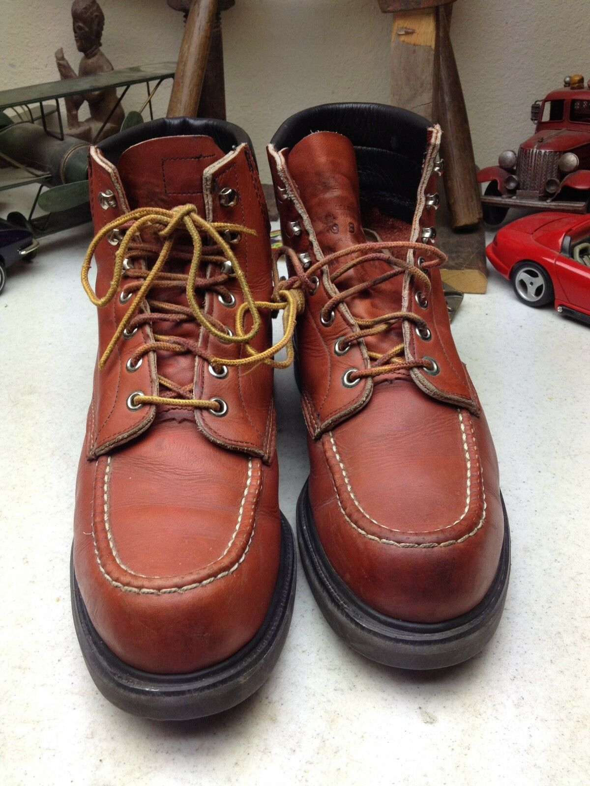 VINTAGE LACE ROT WING USA OXBLOOD LEATHER LACE VINTAGE UP WORK CHORE PACKER MOC TOE Stiefel 9B 241e06