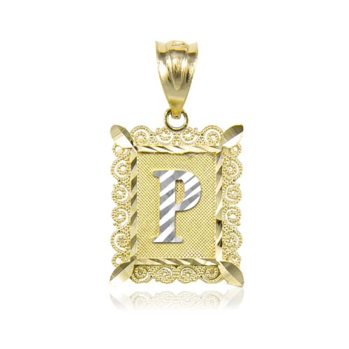 A-Z Alphabet Necklace Charm 14K Solid Yellow Gold Initial Letter Plate Pendant