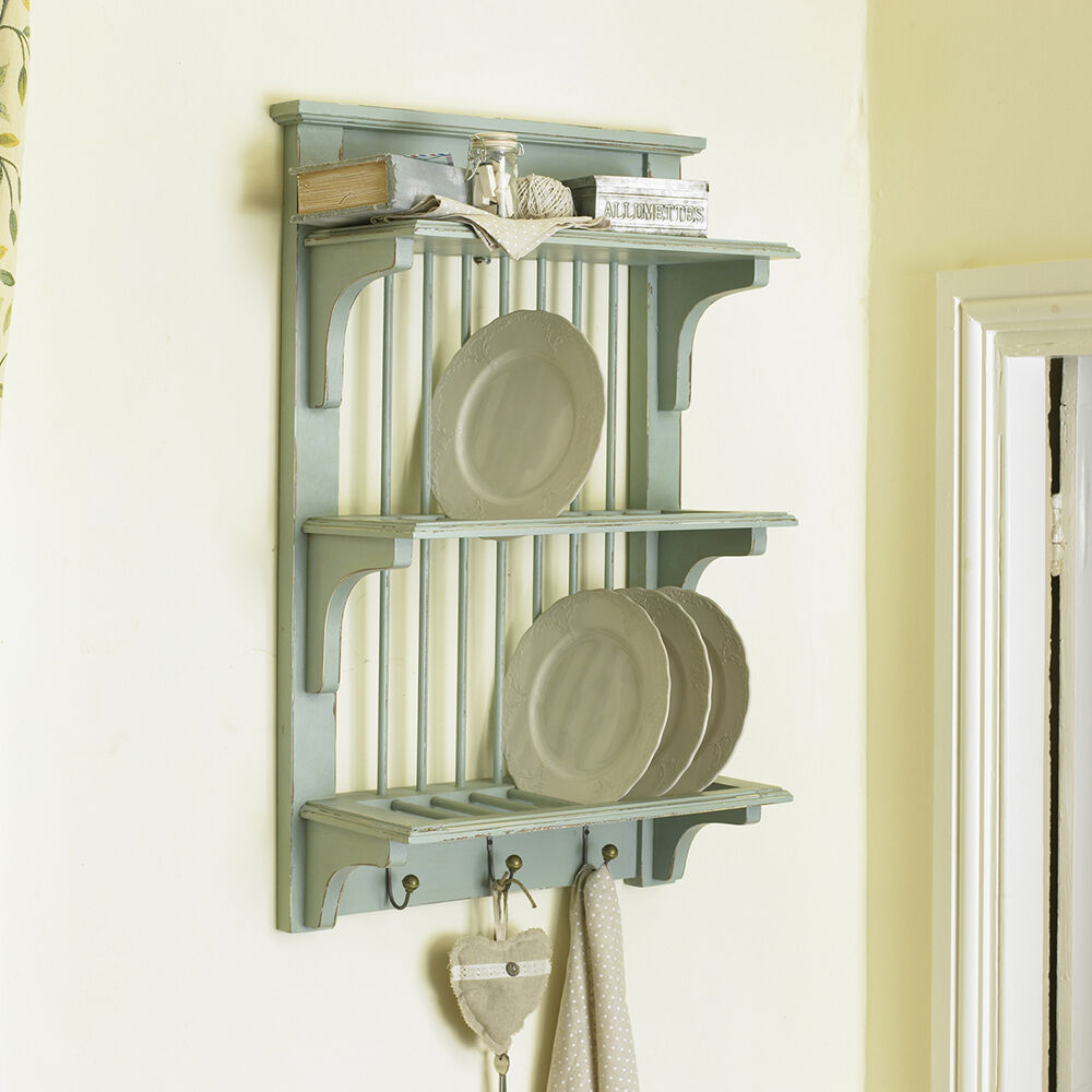 Vintage Blue Wall Mounted Plate Rack By Dibor Ebay