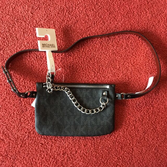 ef76efcdee8e09 New Michael Kors Saffiano Leather Brown Signature Gold Chain Fanny Pack  Size M