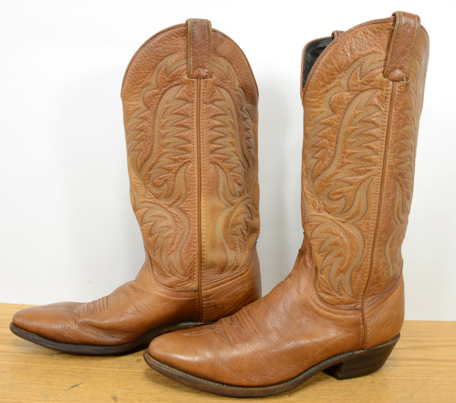 Code West USA Mens Sz 8 Leather Work Biker Riding Western Cowboy Tan Boots