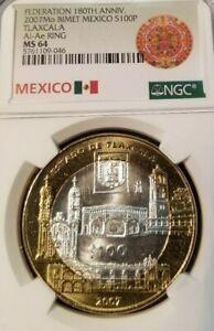2007-MEXICO-SILVER-100-PESOS-S100P-ESTADO-DE-TLAXCALA-NGC-MS-64-HIGH-GRADE