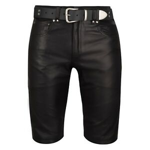 Freundlich Leder Shorts Schwarz Bermudashorts Lederhose Kurz Leather Pants Shorts Black