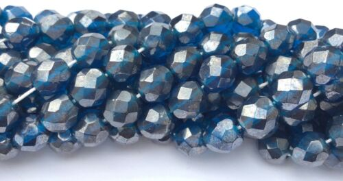 Czech Firepolish Steel Blue Luster 25 Bead Strand.