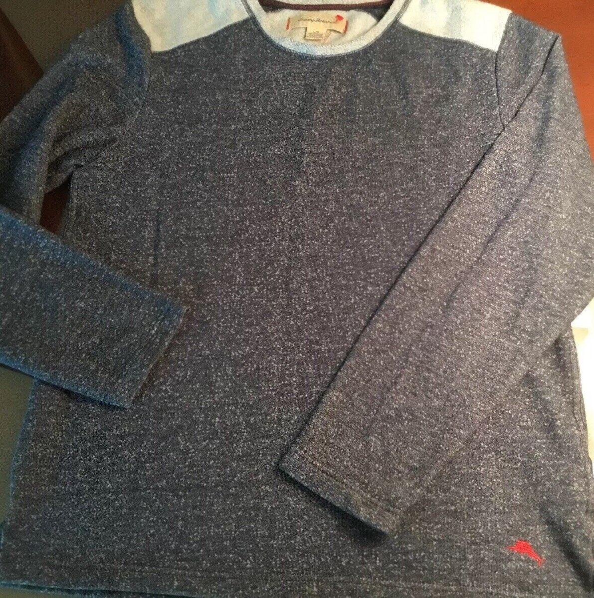 Tommy Bahama L/S Navy Heather Cotton Crew Sweater  Herren Large
