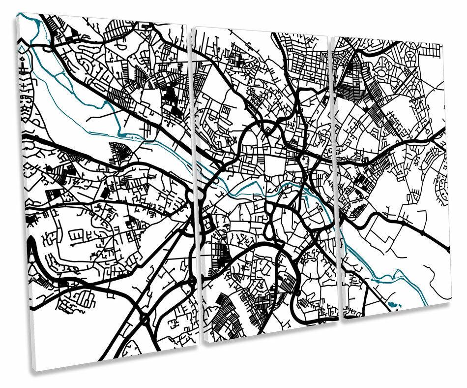 Leeds Map City Minimalistic Modern TREBLE CANVAS WALL ART Box Framed Picture