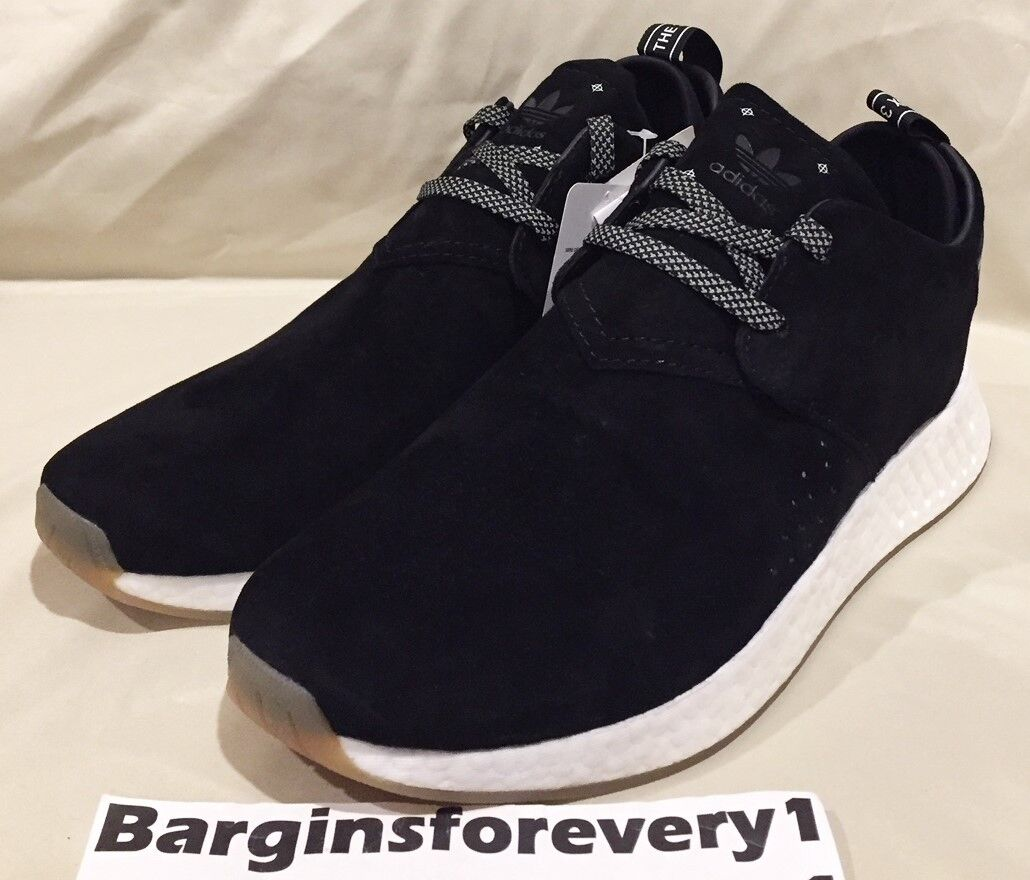 New Men's Adidas NMD_C2 Suede - BY3011 - Size 12 - Black/White/Gum