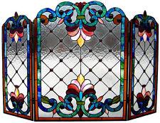TIFFANY STAINED GLASS FIREPLACE SCREEN * FLEUR-DE-LIS Jewels Art Deco Geometric
