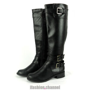 Ladies Womens Faux Leather Riding Knee High Boots Low Heels Buckle Zipper Shoes