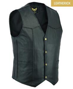 Mens-Classic-Motorcycle-Biker-Leather-waistcoat-vest-Top-Grain