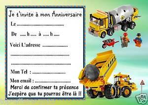 Beliebt 5 cartes invitation anniversaire Lego Chantier 01 d'autres  AD32