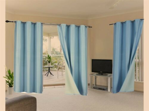 100/% Blackout 2 Panels Lined Backing Heavy Thick Grommet Bay Window Curtain ADAM
