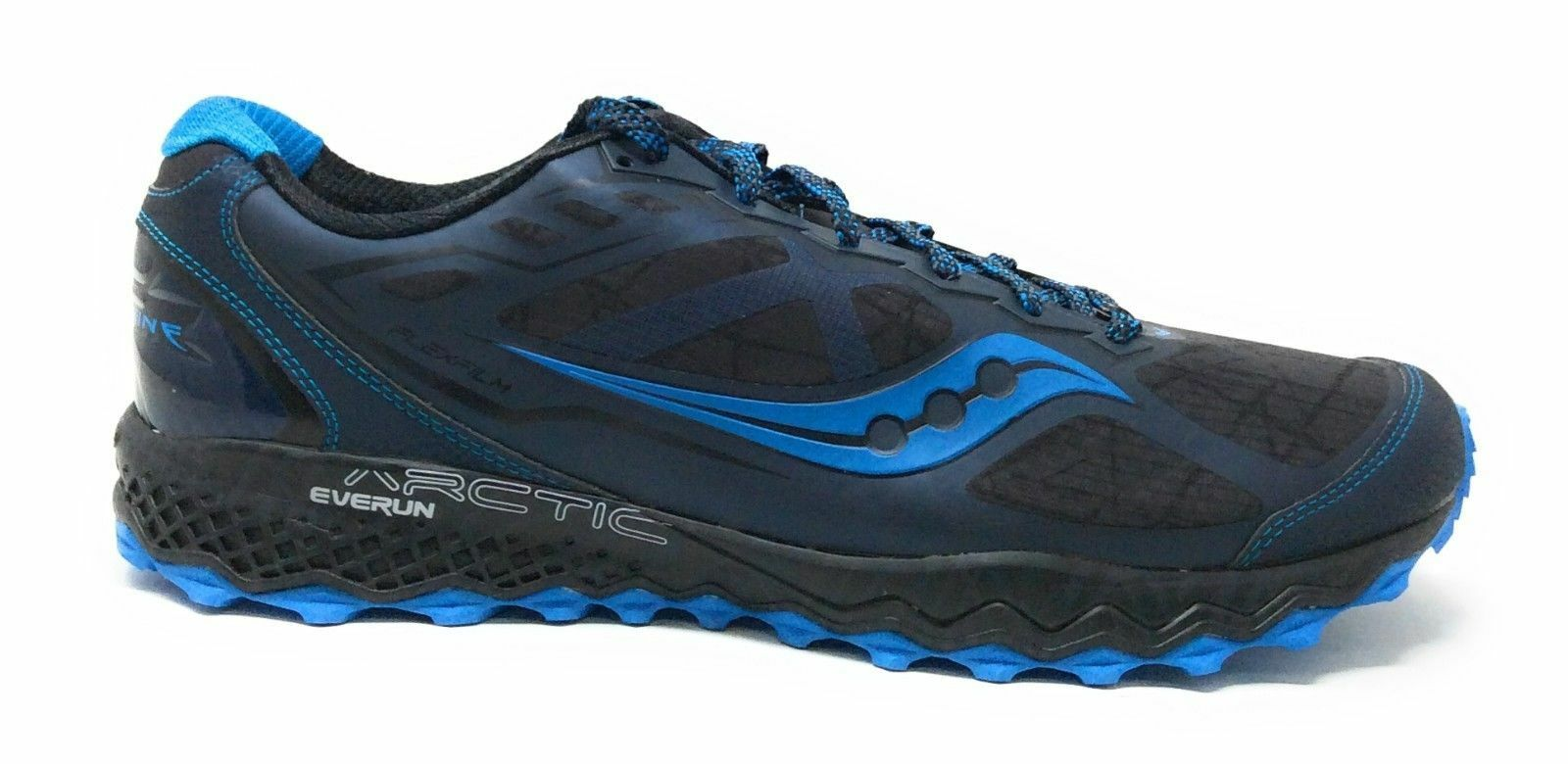 Saucony Mens Peregrine 6 ICE+ Running Sneaker Black bluee Size 7.5 M US