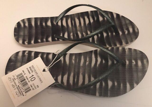 063e01d4bcc0 NWT REEF WOMENS ESCAPE LUX PRINTS BLACK PVC Free SANDALS SHOES FLIP FLOPS  SZ 10