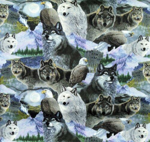 Designer patchwork sustancia Wolf Adler sustancias patchwork lobos animal motivos animales de perros