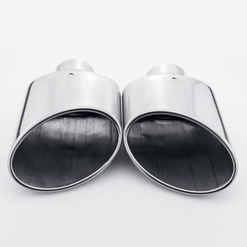 "Pair 2.25/"" Inlet Angle Cut Rolled Oval 304 Stainless Steel Exhaust Tips Trims"